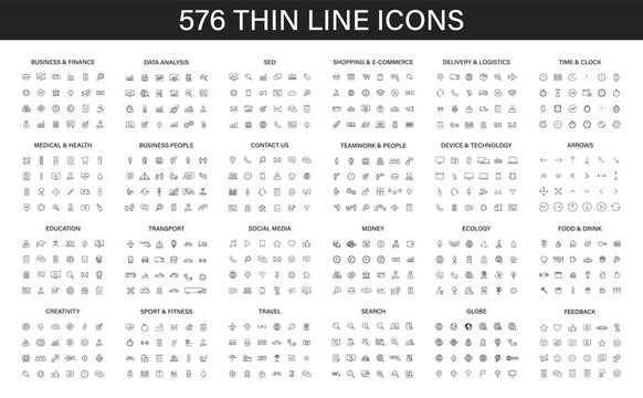 Big vector collection of 576 thin line Web icon. Business, finance, seo, shopping, logistics, medical, health, people, teamwork, contact us, arrows, technology, social media, education, creativity.