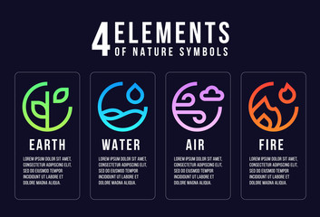 4 elements of nature symbols line abstract circle style with earth , fire , air and water vector design