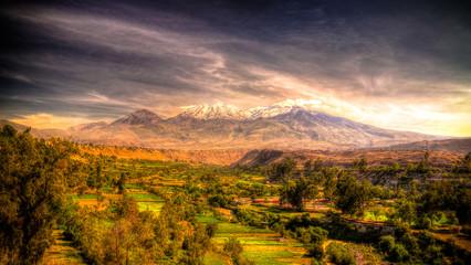 Poster Crimson Panoramic view to Chachani mountain and Arequipa city Arequipa, Peru