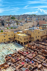 Aerial view of leather tanneries, Fez, Morocco