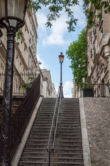Stairs in the famous streets of Montmartre in Paris - Paris, France