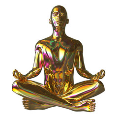 Golden man lotus pose stylized figure sparkling glossy