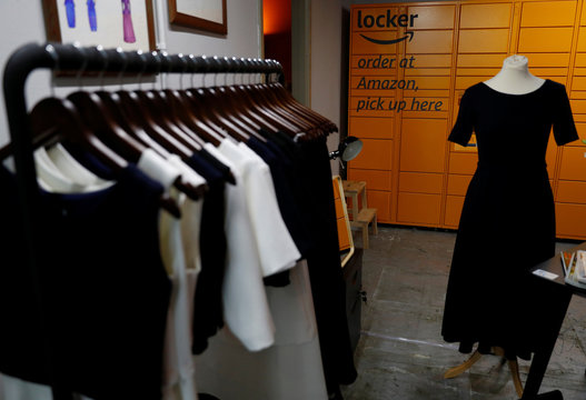An Amazon collection locker is seen inside the Amazon-backed pop up store 'Clicks and Mortar' in Manchester
