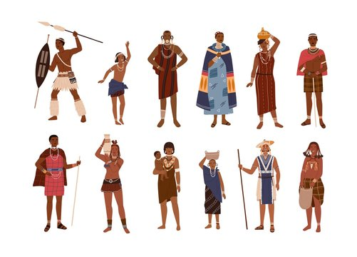 Collection of aboriginal or indigenous people of Africa dressed in ethnic clothes isolated on white background. Set of men, women and children from African tribes. Flat cartoon vector illustration.