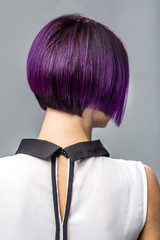 Fashion Woman Purple Short Hair Gray Background