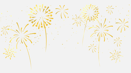 Celebration background template with fireworks gold ribbons. luxury greeting rich card. Fototapete