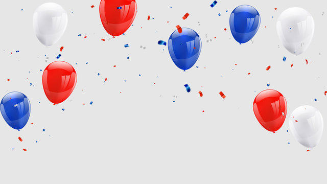 Celebration background template with balloons confetti and red and blue ribbons.