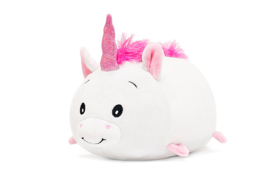 Unicorn soft toy on white isolated background