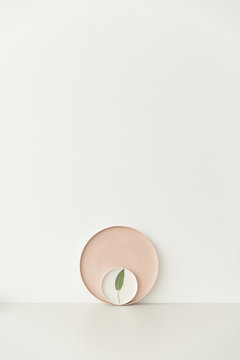 A fresh sage leaf and some pastel plates on a light grey table.