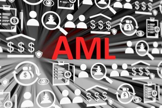 AML concept blurred background 3d render illustration
