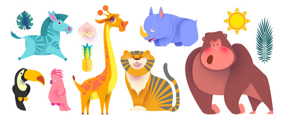 Cute Jungle Animals Set. Exptic Wild Collection.