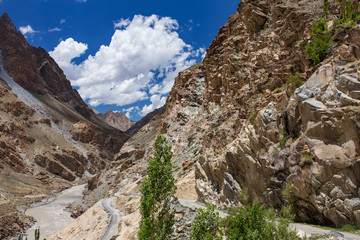 Landscape of the Indus valley in Himalaya mountains in Ladakh