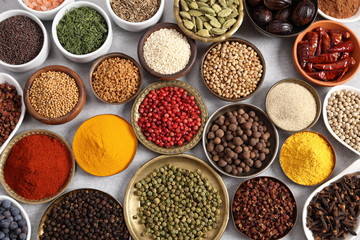 Wall Mural - Spices and herbs.
