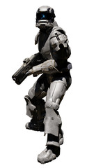 Science fiction of a futuristic sci-fi space marine trooper with heavy rifle turning around ready to attack, 3d digitally rendered illustration