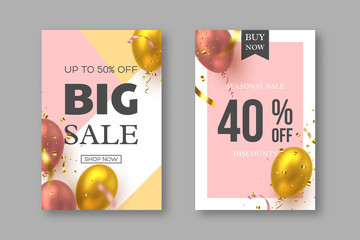 Big seasonal sale posters with realistic 3d air balloons and confetti. Special offer festive discount template in golden and pink colors. Vector illustration.