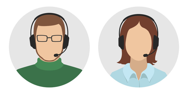 Technical support officers. Man and woman in headsets. Vector icon.