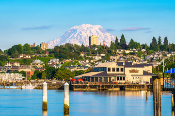Tacoma, Washington, USA with Mt. Rainier in the distance Wall mural