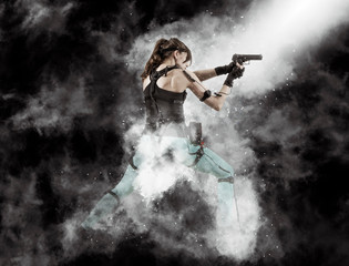 Woman playing on the simulator virtual reality, holding gun