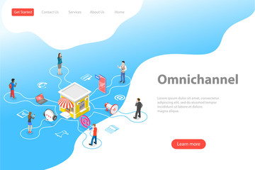 Isometric flat vector landing page template of cross channel, omnichannel, several communication channels between seller and customer, digital marketing, online shopping. Fototapete