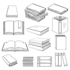 Vector Set of Black Sketch Books