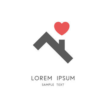Roof and heart logo - house or home with chimney and love symbol. Happy family, real estate and realty vector icon.