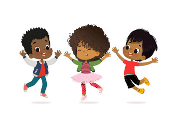 African American Boys and girls are playing together happily. Kids Play at the grass. Children Holding hands and jumping. The concept is fun and vibrant moments of childhood. Vector illustrations.