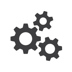 Settings gears orcogs flat icon for apps and websites