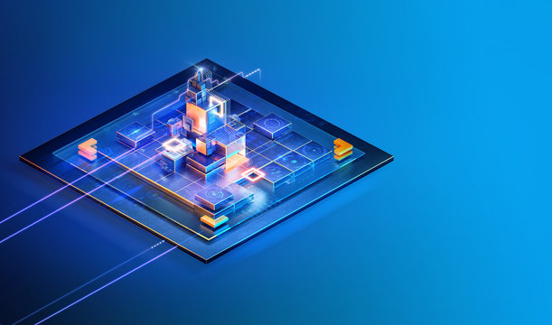 Isometric abstract internet website interface page design. Strategy business, data analysis, blockchain, finance, banking, management, consulting, social media concept, ai, web layout background. 3D