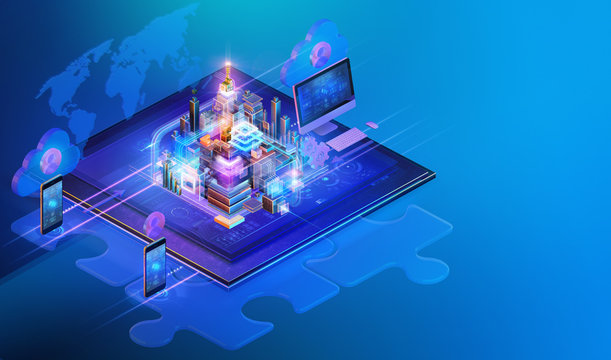 Isometric cross platform internet website interface background design. Web programming, software development strategy business, media data analysis, blockchain, management, consulting concept, ai. 3D