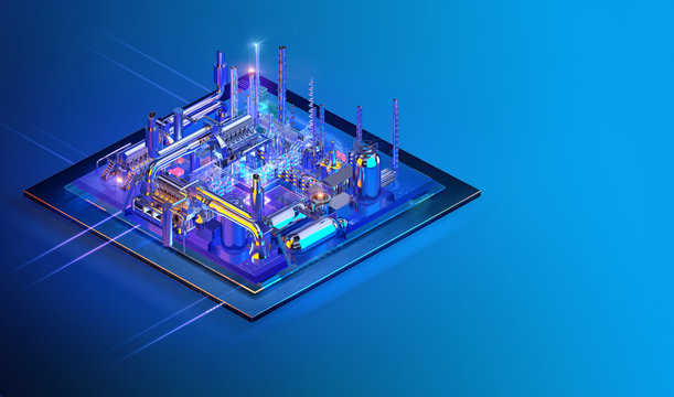 Isometric contemporary innovative smart industry website interface background design. Industry 4.0, gas oil refinery industry, electric power transmission, robotic automatic, chemical, power plant. 3D