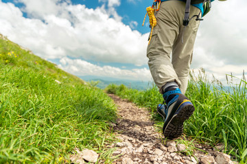 Hiking boots on the mountain trail