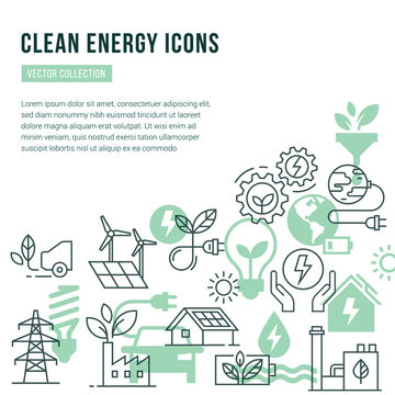 Vector template with place for text and isolated icons set on the theme of green energy