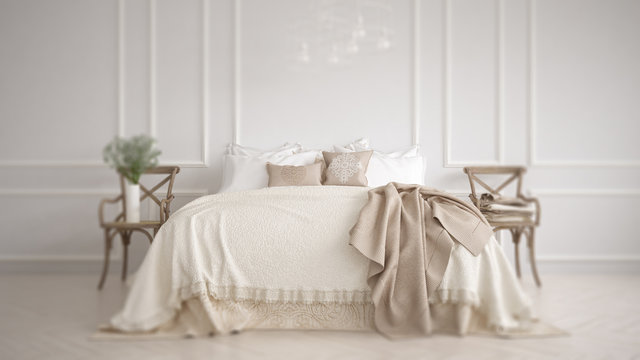 Interior design depth of field, classic white and beige bedroom with double bed, modern architecture concept idea