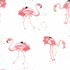 Tuinposter Flamingo Pink flamingo tropical seamless pattern