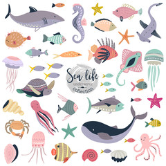 Vector collection of cute underwater animals and fish.