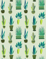 Aluminium Prints Plants in pots Vector seamless pattern with collection of house plants in pots.