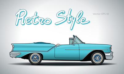 Keuken foto achterwand Cars Retro car cabriolet vector draw isolated illustration