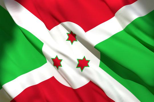 3d rendering of Burundi flag