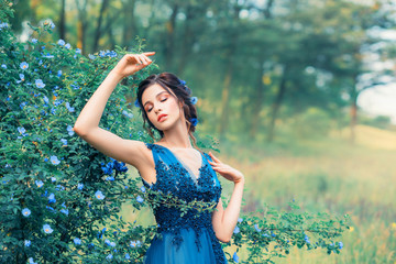 gentle image of a nymph in a long elegant elegant dress, a girl like an amazing cornflower flower. field mermaid dreams with her eyes closed, young princess dancing next to a fabulous forest