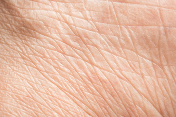 Close up old skin texture with wrinkles on body human