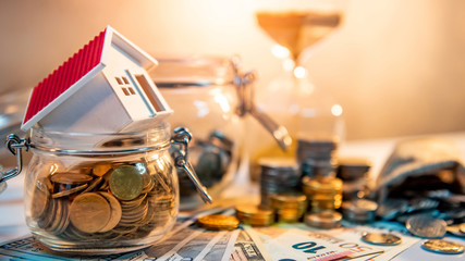 Saving money for retirement concept. Real estate or property investment. Home mortgage loan rate....