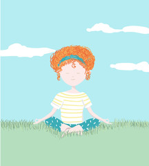 Young girl relaxing in the garden with yoga position - Hand painted in digital watercolor illustration isolated on white background