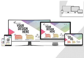 Mockup of Smartphone, Tablet, Laptop, and Desktop Screens