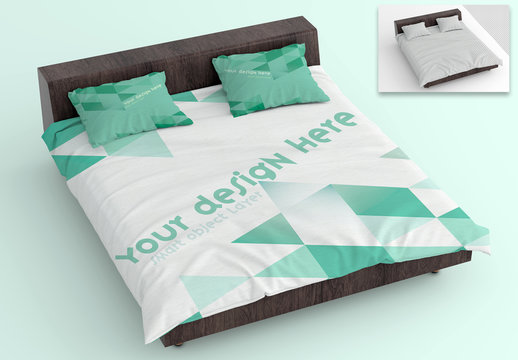 Mockup of Sheets and Pillows on Wooden Bed Frame