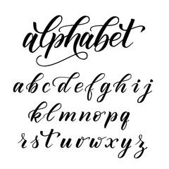 Handwritten modern brush calligraphy Alphabet isolated on white. Vector illustration.