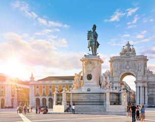 Lisbon, Portugal. King Jose I Statue at Praca do Comercio in front of Triumphal Arch near...