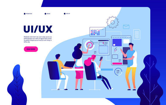 Ui ux landing page. Best user experience automation digital ui ux testing vector modern concept. Ui ux development, interface website illustration