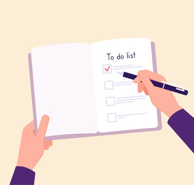 To do list concept. Hands on table writing memo checklist. Complete business plan vector concept. Illustration of checklist reminder in notebook