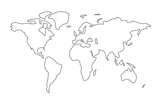 Simple world map line art