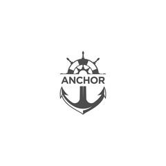 marine retro emblems logo with anchor symbol, anchor rope and ship wheel, anchor logo - vector